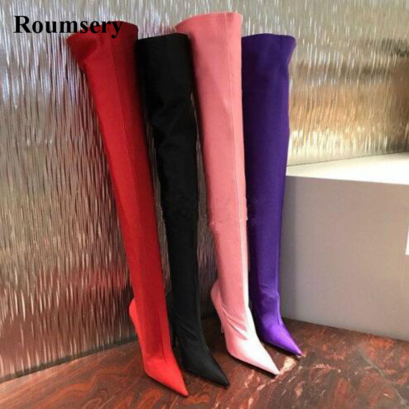 New Arrival Women Sexy Pointed Toe Silk Slim Over Knee High Heel Boots Stiletto High Heels Elasticity Slip-on Bandage Boots new arrival high quality over the knee women boots sexy pointed toe shoes stiletto high heels blue denim jeans women boots