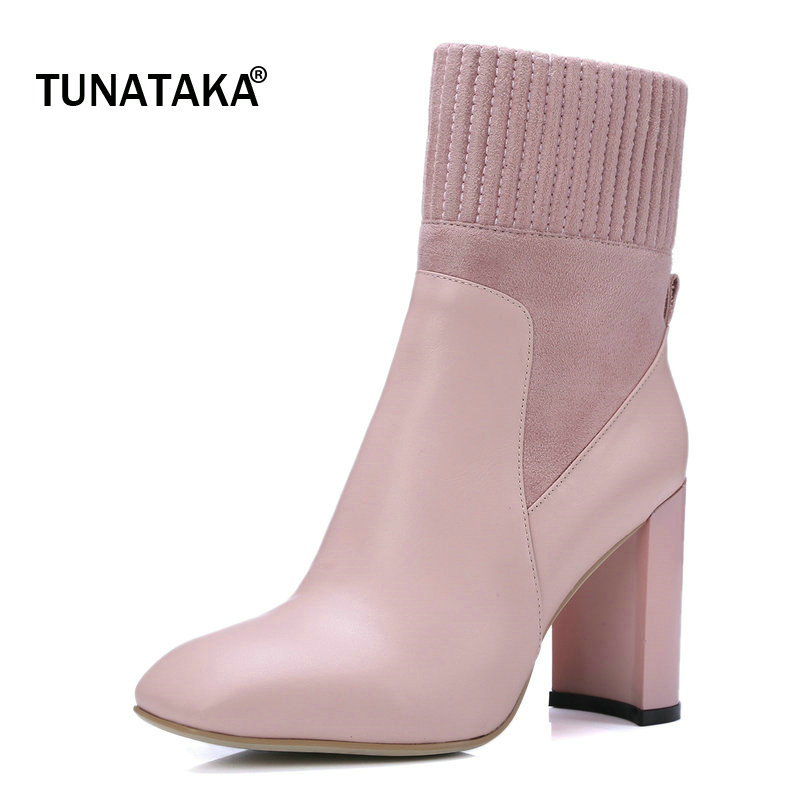 Woman Genuine Leather Thick High Heel Mid Calf Boots Fashion Square Toe Side Zipper Dress Boots Black Brown Pink popular high quality full grain leather round toe mid calf boots size 40 41 42 43 44 zipper design square heel knight boots