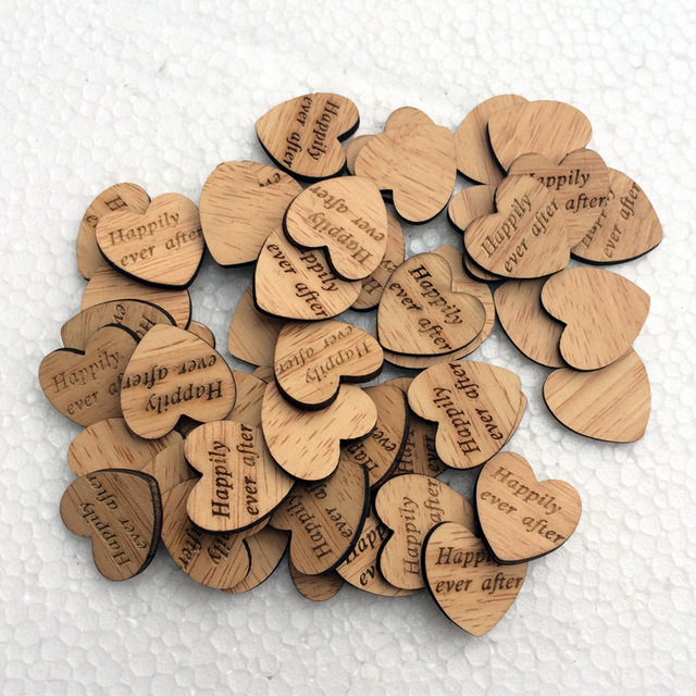 Free shipping 50pcs wooden heart happily ever after table confetti free shipping 50pcs wooden heart happily ever after table confetti vintage affair rustic wedding table decoration junglespirit Image collections
