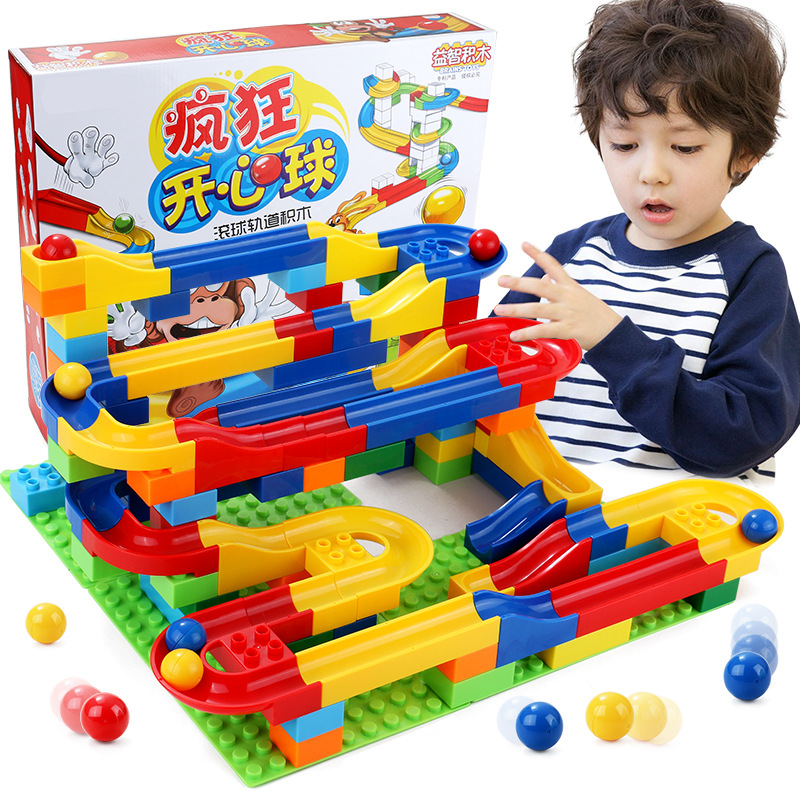 Funny DIY Building Blocks Marble Race Run Maze Track Balls Construction Blocks Tunnel IQ Game Education Toy For Children spell insert building blocks fire model plastic environmental protection construction science and education children s education