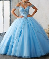 2019 Light Blue Sweetheart Quinceanera Dress Ball Gown Crystal Tulle Beading Slit Front Vestido Strapless Party Dresses Custom
