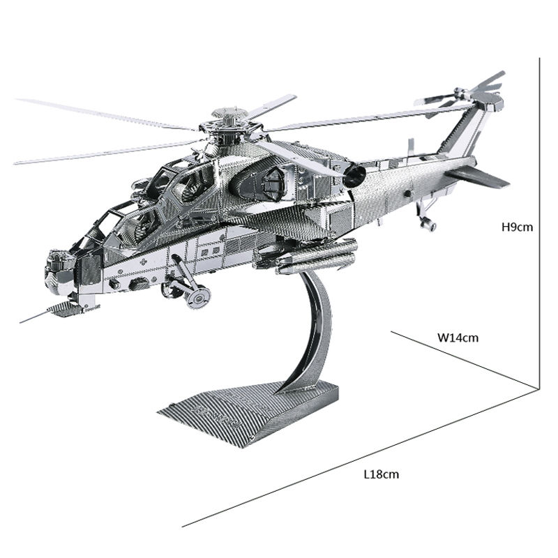 WUZHI-10 Helicopter Model 3D laser cutting Jigsaw puzzle DIY Metal model Nano Puzzle Kids Educational Puzzles Juguetes para niños