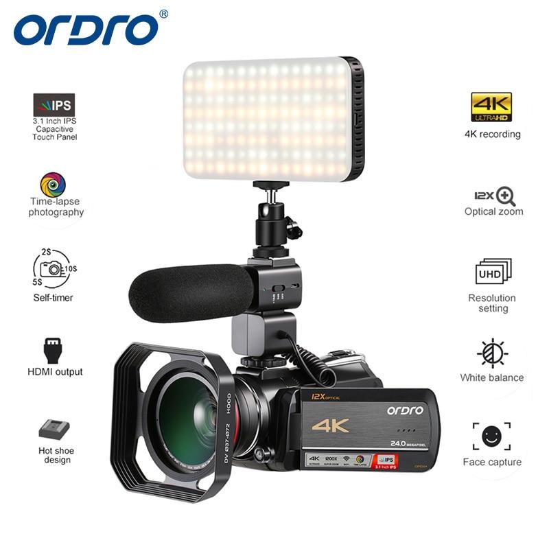 Caméscope caméra numérique Ordro AC5 4 K UHD FHD 24MP WiFi 12X optique 100X Zoom numérique IPS Mini caméscopes DV à écran tactile