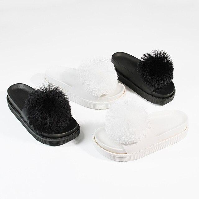 885517e2307d Big pompom women platform slippers summer outside thick bottom slides  tassel ball decorate wedges sandals fashion flipflops 2018
