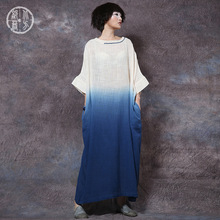 new women long dress vintage casual leisure loose elegant summer holiday linen maxi