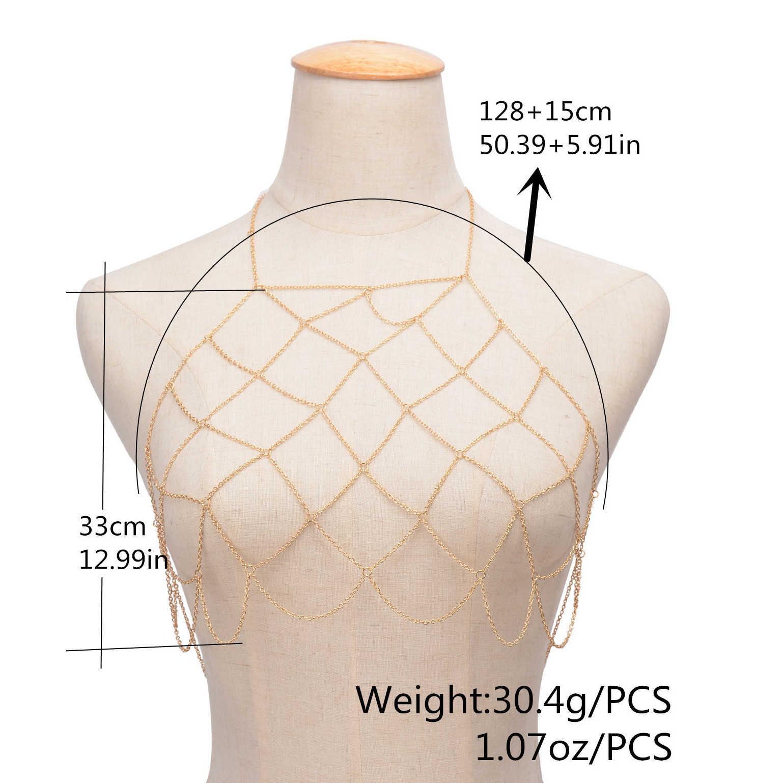 2020 Collares Collier Bikini vücut zinciri demeti Bohemian takı seksi meme sutyen Maxi kolye kadın aksesuarları Bijoux Femme