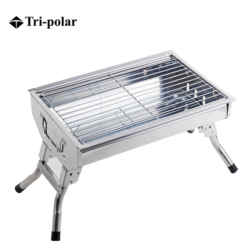 Tri-polar Portable Outdoor Camping Beach BBQ Barbecue Grill Folding Picnic Camping Charcoal BBQ Grill Portable Stainless Steel portable barbecue grill with heart outdoor shape stainless steel grill folding bbq grill firewood stove outdoors household tool