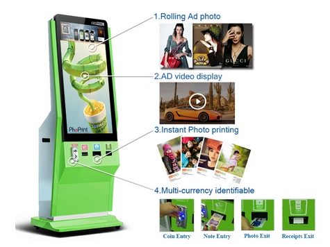 webchat or instogram photo All in one printer with Portrait lcd digital signage player/free standing video digital displaywebchat or instogram photo All in one printer with Portrait lcd digital signage player/free standing video digital display