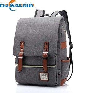 Image 1 - Chuwanglin Retro Men Male canvas College School Student Backpack Casual Rucksacks Travel Bag Laptop bags women bags ZDD7205