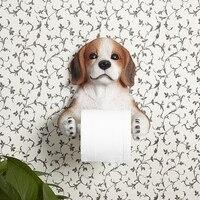 Creative Toilet Roll Holder Wall Mount Towel Rack Box Shelf Bathroom Vertical Wall Resin Puppy Paper Holder