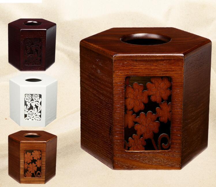 Organisateur organisador boîte de rangement en bois cylindre serviette Tube bois ameublement Six Angle boîte européenne sculpture bobinage pièce
