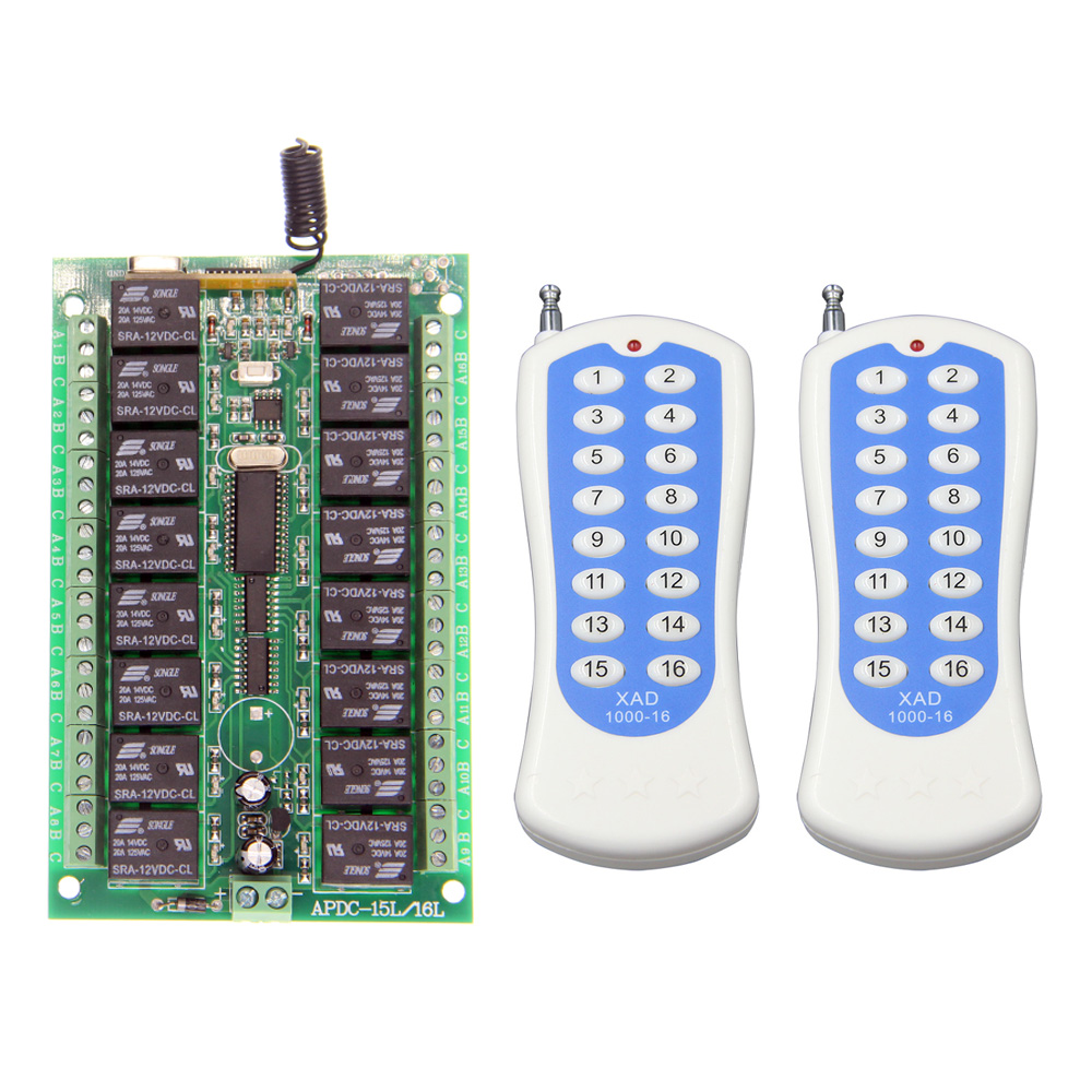 ФОТО DC 12V 24V 16 CH 16CH RF Wireless Remote Control Switch System,2X Transmitter + Receiver,Jog Self-lock Inter-lock315/433.92 MHZ