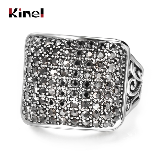 Kinel Luxury Punk Ring Men Silver Color Carved Pattern Covered With Crystal Anti