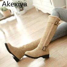 Akexiya de alta de la pierna botas de invierno de piel las mujeres de moda hebilla botas de nieve de algodón zapatos de invierno para las muchachas 3 colores plus tamaño 34-43