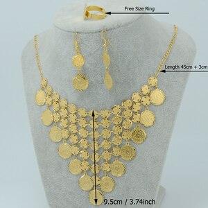 Image 2 - Anniyo Arabian เหรียญชุดเครื่องประดับ GOLD สีกลาง East สร้อยคอสร้อยข้อมือแหวนอิสลาม VINTAGE เหรียญชุดงานแต่งงาน #050060
