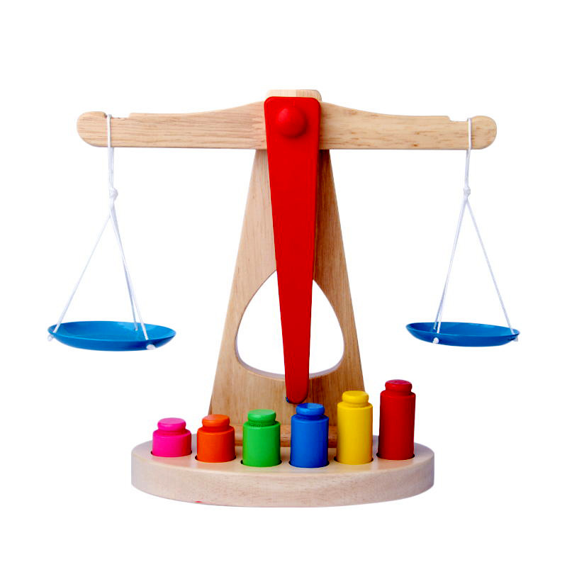 Montessori Educational Wooden Toys For Children Early Learning Kids Balance Scale With 6 Weights Balancing Training Math Toys
