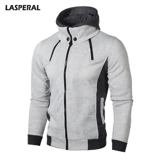 LASPERAL Men's Double Zipper Hooded Jacket Warm Jacket Men's Autumn And Winter Hooded Casual Fashion Jacket