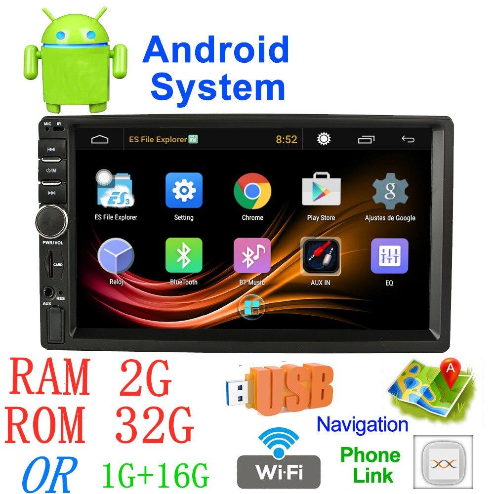7 ''Android radio de voiture Stéréo MP5 Bluetooth USB SD 2 din GPS de voiture radio 7018a Voiture Multimédia Lecteur autoradio RAM 2G + ROM 32G