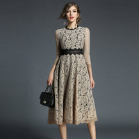 New Fashion Womens Sexy Lace Dress 2018 Big Style Elegant Lady Sleeve Hollow Out White Evening