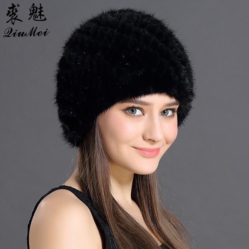 QiuMei Mink Fur Hat Kvinner Med Natural Real Fur Kvinne Cap Kvinners Vinter Hatt Mink Fur Real Knitting Cap Ananas Hat Hold Ear