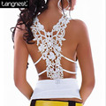 TANGNEST Summer Women Sexy Top 2017 Hollow Out Lace Tank Casual Solid V-neck Crop Tops Regata Feminina Tanks WBX181