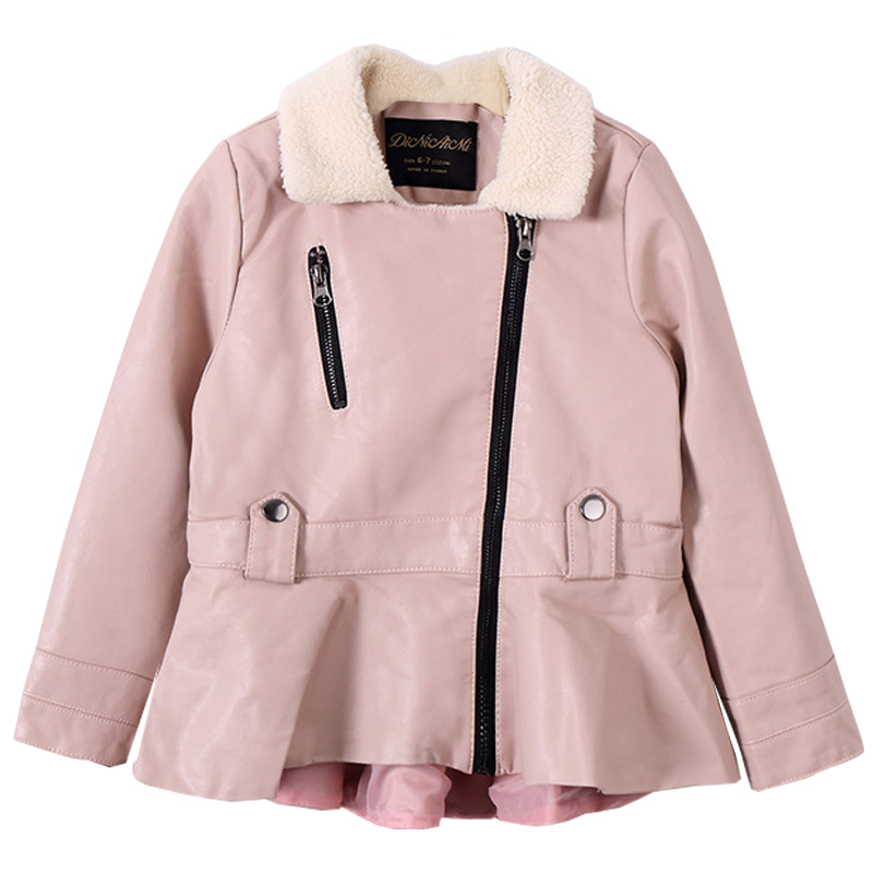 Street style girl locomotive fake leather coat 2019 autumn and winter new girl teen pu leather jacket shirt children thick jacke