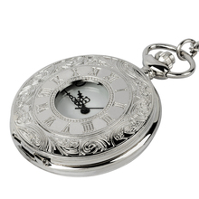 цена на Vintage clock necklace mechanical digital pocket watch vintage simple silver bronze watch chain watch for men and women