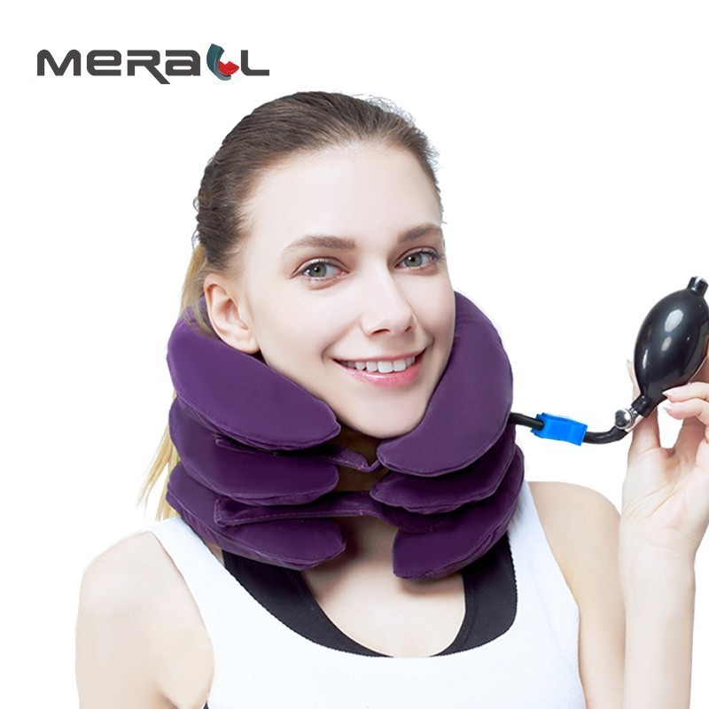 Medical PVC liner Full velvet Pro Neck Cervical Traction Device Neck Stretcher Protector Relaxation inflatable collar neck care ifory health care inflatable cervical collar traction device neck stretcher protector vertebra traction massager medical care