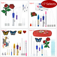 Looen Magic Embroidery Pen Punch Tool With Flower DIY Needle Arts Craft Stitching Set Case Sewing