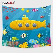 Cutom Гобелены стене висит, Yellow Submarine коралловых рифов с красочные рыбы океан жизни морских существ тропический детские синие