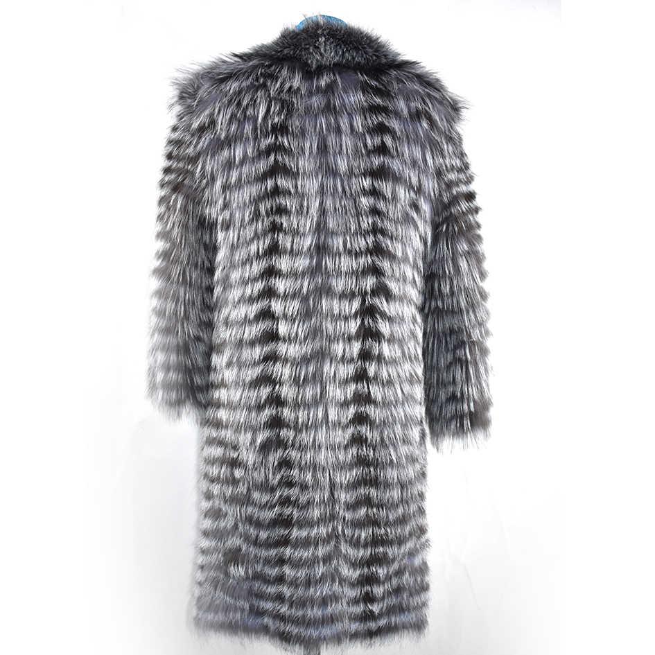 새로운 리얼 폭스 동물 모피 직조 경량 패션 럭셔리 따뜻한 두꺼운 동물 레이디 코트 롱 자켓 봄