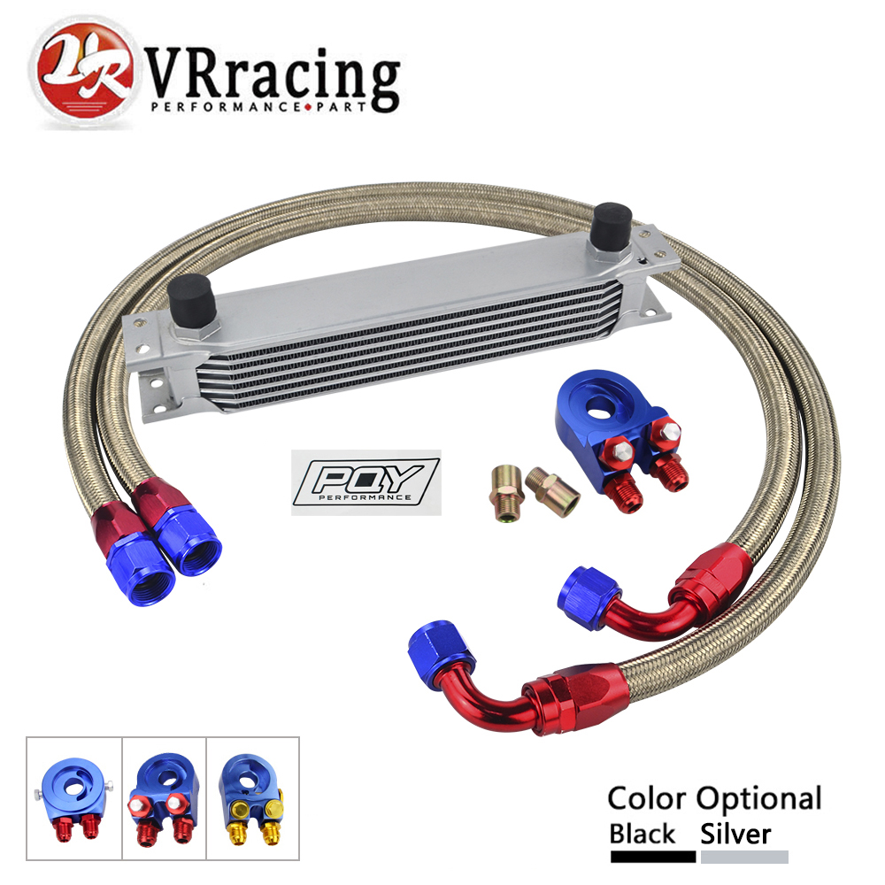 AN10 OIL COOLER KIT 7ROWS TRANSMISSION OIL COOLER + OIL FILTER ADAPTER +STAINLESS STEEL BRAIDED HOSE WITH PQY STICKER AND BOX топливоснабжение pqy an10 pqy6721