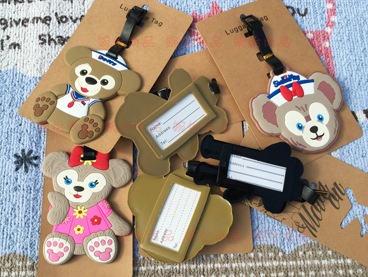 30 pcs/lot Anime Duffy Bear luggage tag Cartoon ShellieMay PVC bag pendants Lovers fashion suitcase decoration free shipping