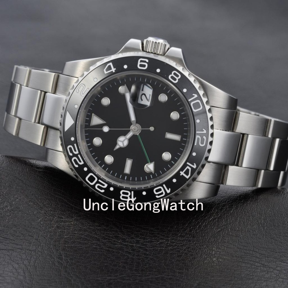 40mm GMT Master Style Sapphire Glass Ceramic Bezel Stainless Steel Men's Automatic Watch WA4001SB