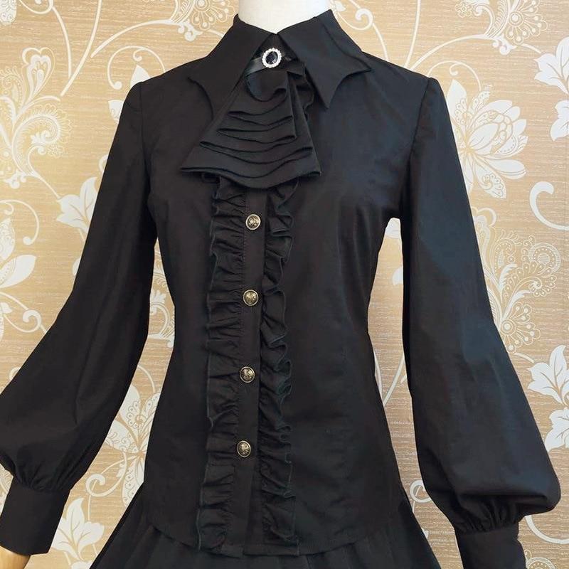 402ce0769 أسود/أبيض حجم S-XL الخريف فانوس كم القوطية قمصان سليم أنيقة الأميرة خمر  الملكي السيدات لوليتا البلوزات