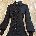 Black/White Size S-XL 2016 Autumn Lantern Sleeve Gothic Shirts Women Slim Elegant Princess Vintage Royal Ladies Lolita Blouses