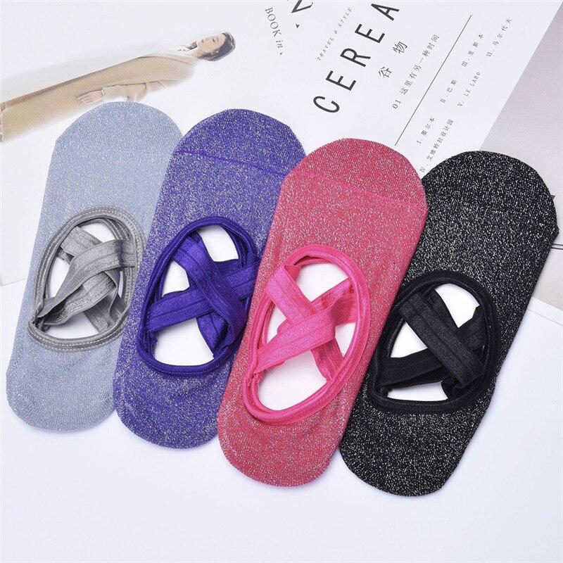 Women's Socks Hosiery Underwear Silver Silk Socks Non-slip Open Back Round Head Straps Dance Sporting Cotton Sock Slippers