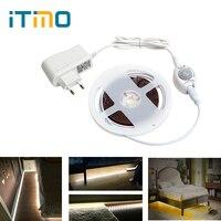 ITimo 2 M 60 LEDs Lit Nuit Capteur De Mouvement des Lumières LED Bande Armoire Cabinet Lampe avec Arrêt Automatique Minuterie UE/US Plug