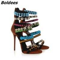 פגז Boldees קשט נשים סנדלי גלדיאטור משאבות פסקי לחתוך סקסיים יהלומים מלאכותיים עקבים גבוהים נעלי קיץ סנדלי כלוב WomanShoes