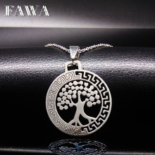Tree of Life Pendants Stainless Steel Necklaces Silver Plated Necklaces Pendants Women Men Jewelry Gift acero inoxidable N16811a