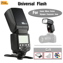 цена Universal flash Pixel M8 Hot shoe flash 2.4G Wireless Dual power For Canon Nikon Sony Pentax Fujifilm Olympus 700D A7s A7 70D онлайн в 2017 году