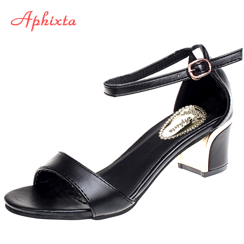 Aphixta Square Heel Ladies Sandals Open Toe Women Sandals 2018 Sandalias Mujer Mid Thick Heel Sandles Plus Size 41 Summer Shoes