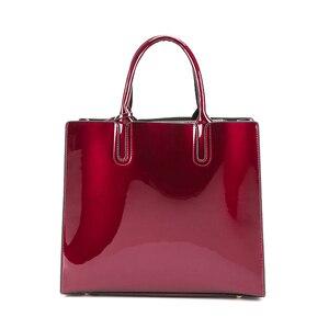Image 5 - Sacos de moda feminina de couro de patente sólida brilhante senhoras bolsas de luxo simples ombro ocasional mensageiro sacos sac a principal
