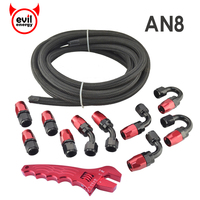 evil energy 5M AN8 Nylon Stainless Steel Braided Black Oil Fuel Hose+AN8 Fittings Hose Ends Oil Cooler Adapter With Spanner