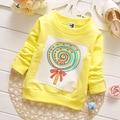 2016 children kids baby boys girls t shirts spring autumn cute print long sleeve shirts free shipping
