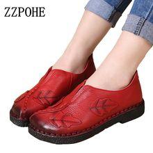 Zzpohe мягкой руки ручной работы женская обувь модные кожаные мать рабочая обувь Повседневная Удобная Женская дышащая обувь на плоской подошве size40