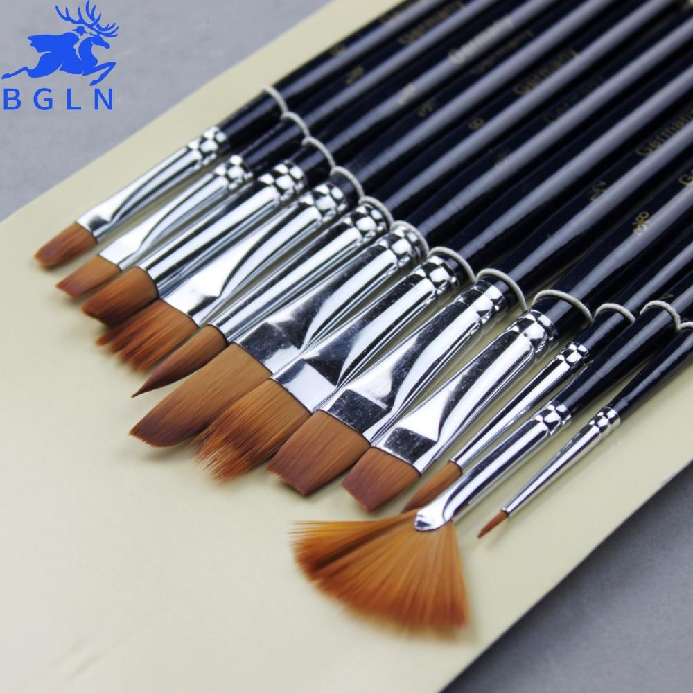 BGLN12Pcs Nylon Hair Paint Brush Set Artist Watercolor Acrylic Oil Painting Supplies