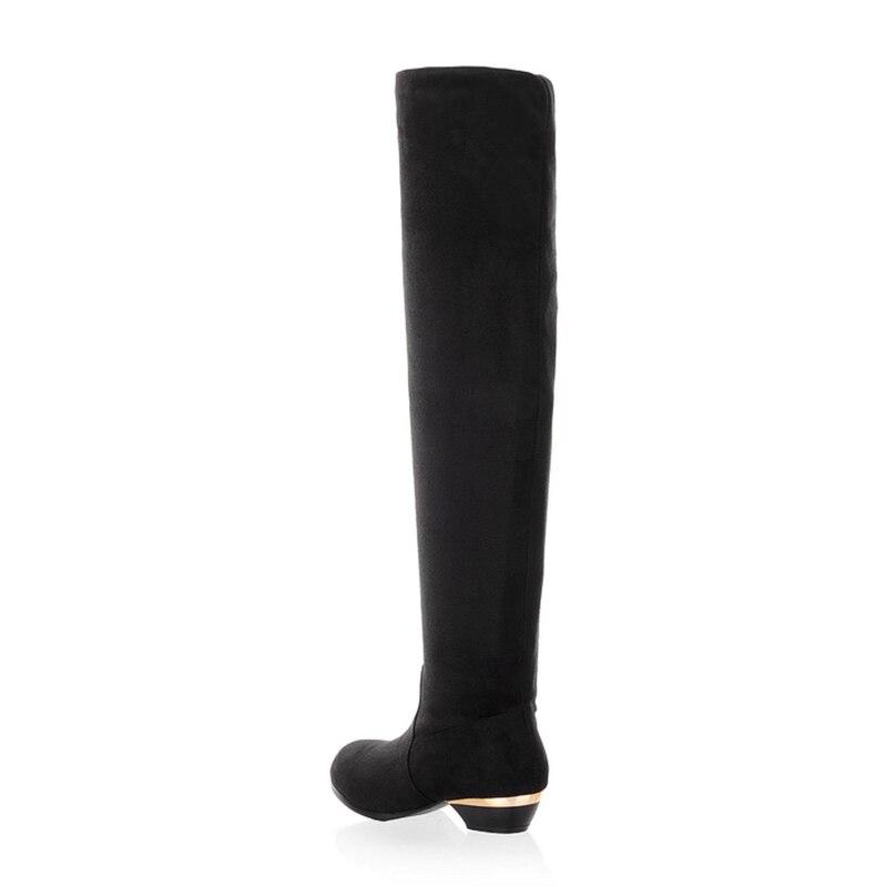 gris marron 43 Taille Fourrure Haute Simple Noir 4 Couleurs Rizabina Longues Femme Dames Mode 34 D'hiver Bottes Cuisse Brillance Chaussures Femmes 1xwSEHRE