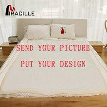 Miracille Customized Werfen Decke Plüsch Personalisierte Decken Druck auf Nachfrage Sherpa Fleece Decke für Betten POD Drop Verschiffen
