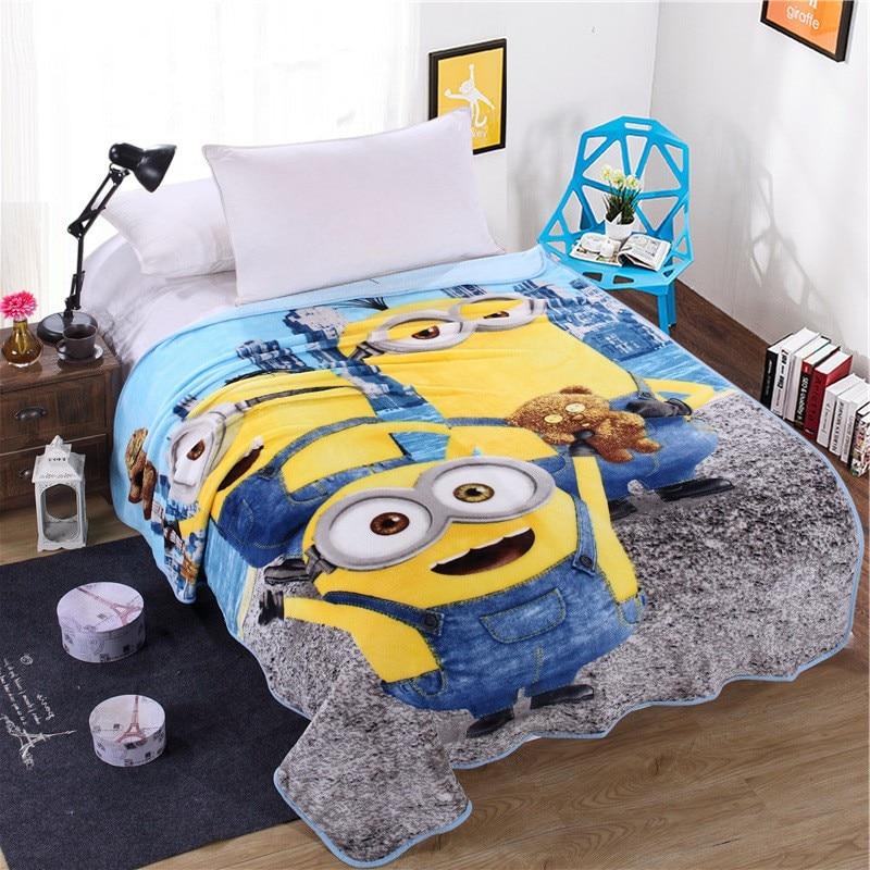 Hot Sale Cute Cartoon Minions Blanket for Kids Gift Hello Kitty Doraemon Stitch Coral Fleece Blanket Throw on Bed,sofa,150x200cm